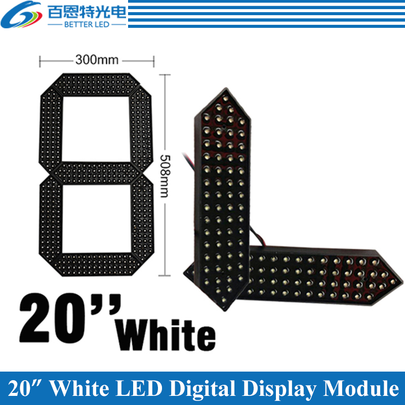 """4pcs/lot 20"""" White Color Outdoor 7 Seven Segment LED Digital Number Module for Gas Price LED Display module-in LED Displays from Electronic Components & Supplies"""