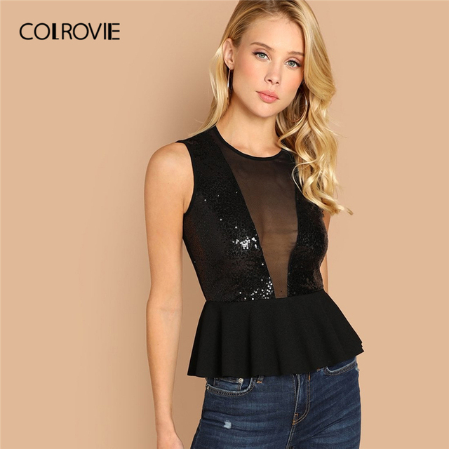 5f9131c59d COLROVIE Black Solid Sexy Mesh Sequin Peplum Tank Top Female 2019 Korean Fashion  Shirts Feminina Tops