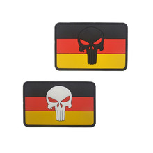 Germany punisher Flag Badge For Clothing Tactical Military Morale 3D PVC Patch Decorative Applique 8x5cm