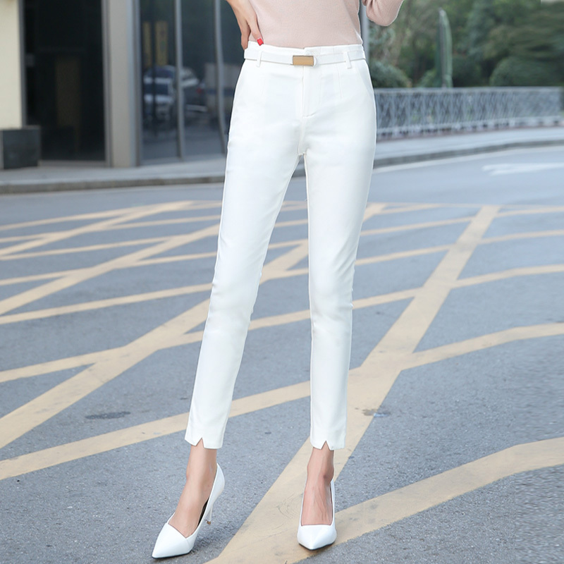 High Quality Women Suit Pants Skinny OL Office Lady Autumn White Pencil Pants High Waist Trousers Female Plus Size S 4XL F195