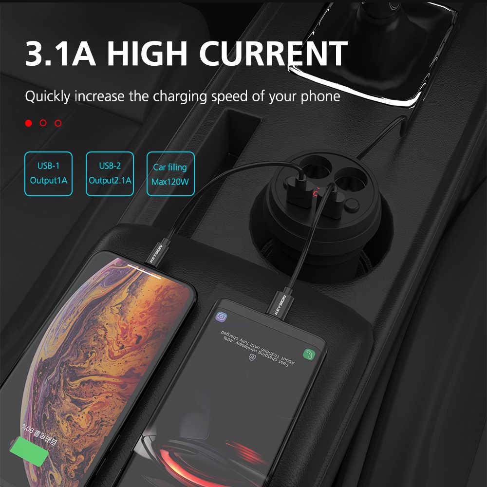 KEYSION 3.1A/120 واط المزدوج USB شاحن سيارة كأس شحن LED شاشة ديجيتال الهاتف تهمة مع 2 مقبس ولاعة السجائر ل GPS DVR