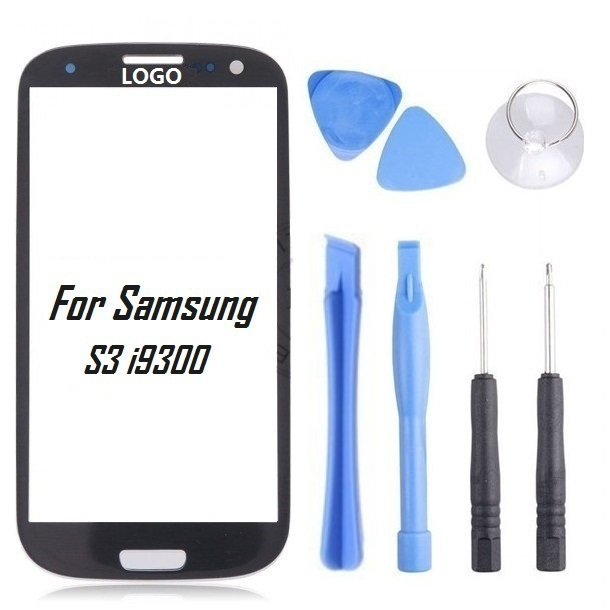 Black Front Glass Lens Front Screen For Samsung Galaxy S3 III i9300 Lcd Screen Replacement  With LOGO For Samsung With Tools