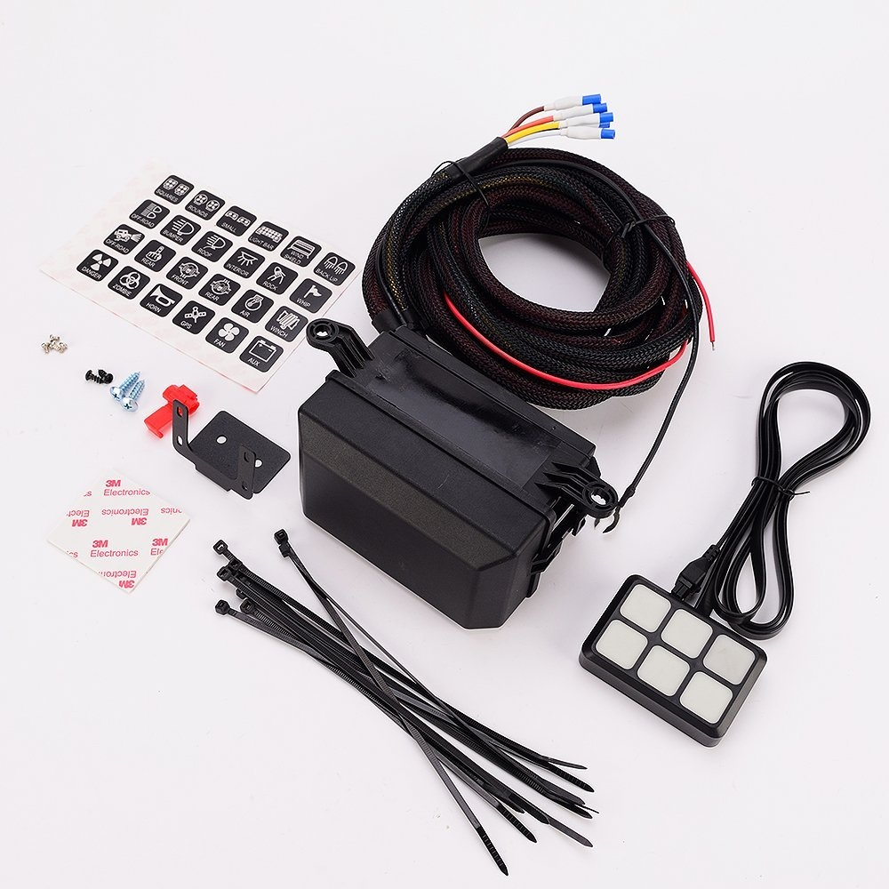 medium resolution of 6 gang switch panel electronic relay system circuit control box waterproof fuse relay box wiring harness assemblies dc12v for ca in car switches relays