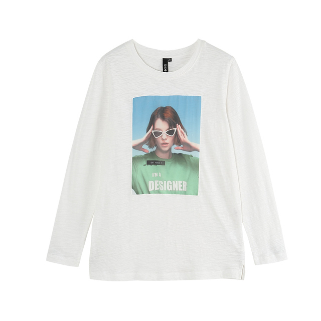 Toyouth Printing Long Sleeve T-shirt Women Casual O-Neck Tee Shirt Loose Solid Tees Funny Winter T-Shirt Woman T Shirt Tops