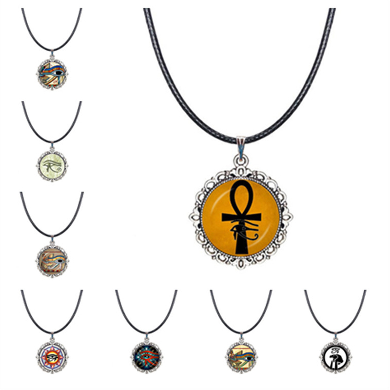 Ancient Egypt Choker Necklace Eye of Horus Ra Ankh Pendant Egyptian Hieroglyphic Amulet Jewelry Spiritual Collar Traveller Gifts