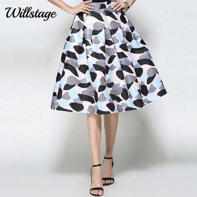 Willstage Women Midi Skirt Dot Printed Ball Gown Princess Party Skirt  Elegant Retro Vintage High waist Ladies 2018 Spring Autumn 0a1bf6063ba9