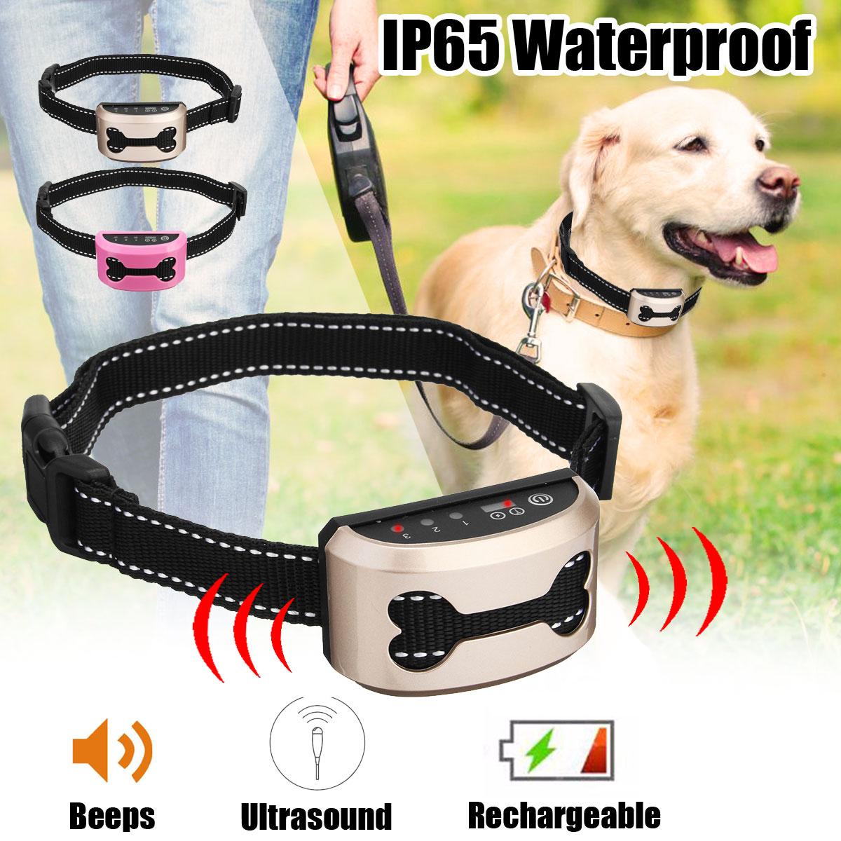 Haustier Hund Wiederaufladbare Anti Rinde Kragen Control Zug Wasserdichte Stop Bellen Hund Wasserdichte Ultraschall Training Halsbänder
