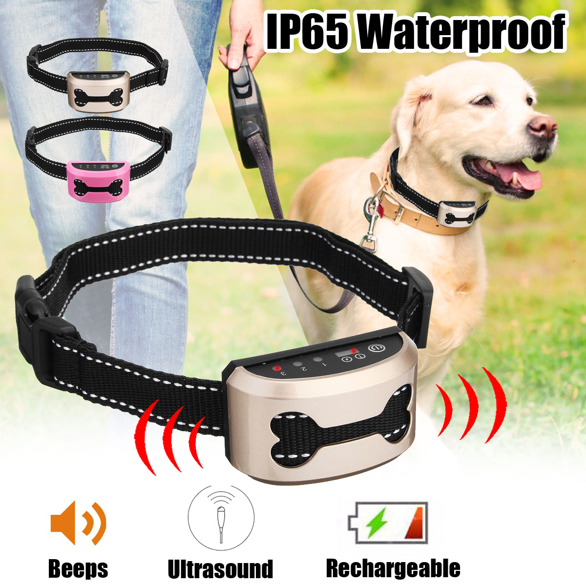 Rechargeable and Anti Bark Dog Shock Collar for Dog Training with Remote and Voice Control 5