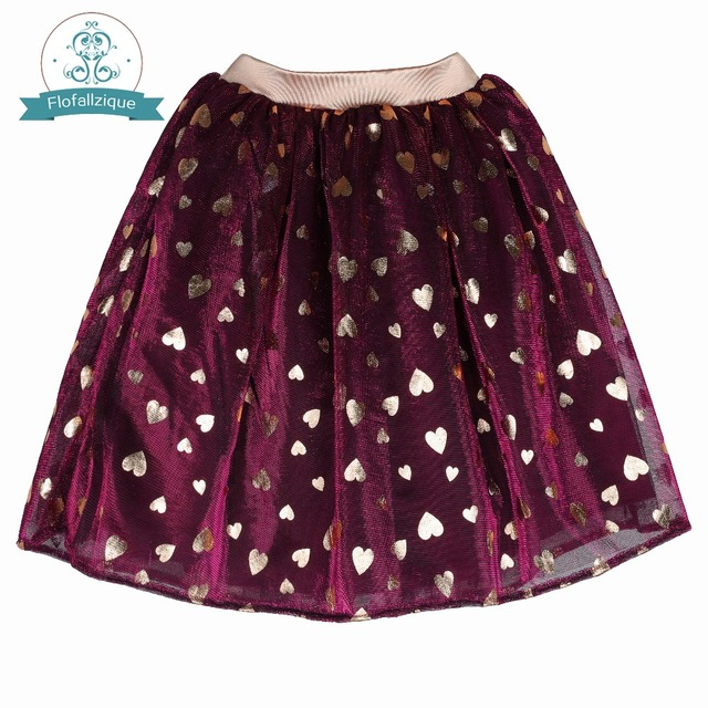 22541be8d Flofallzique Baby Dance Clothes With Golden Love Pattern and Elastic Waist  For Girls Mini Toddler Skirt 1-8Y