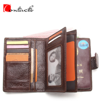 CONTACT S Genuine Crazy Horse Leather Men Wallets Vintage Passport Wallet Zip Coin Pockets Men Leather