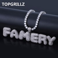 TOPGRILLZ Custom Name Bubble Letters Combine Pendant Necklace Hip Hop Men's Trendy Jewelry Gold Silver Rope Chain Tennis Chain