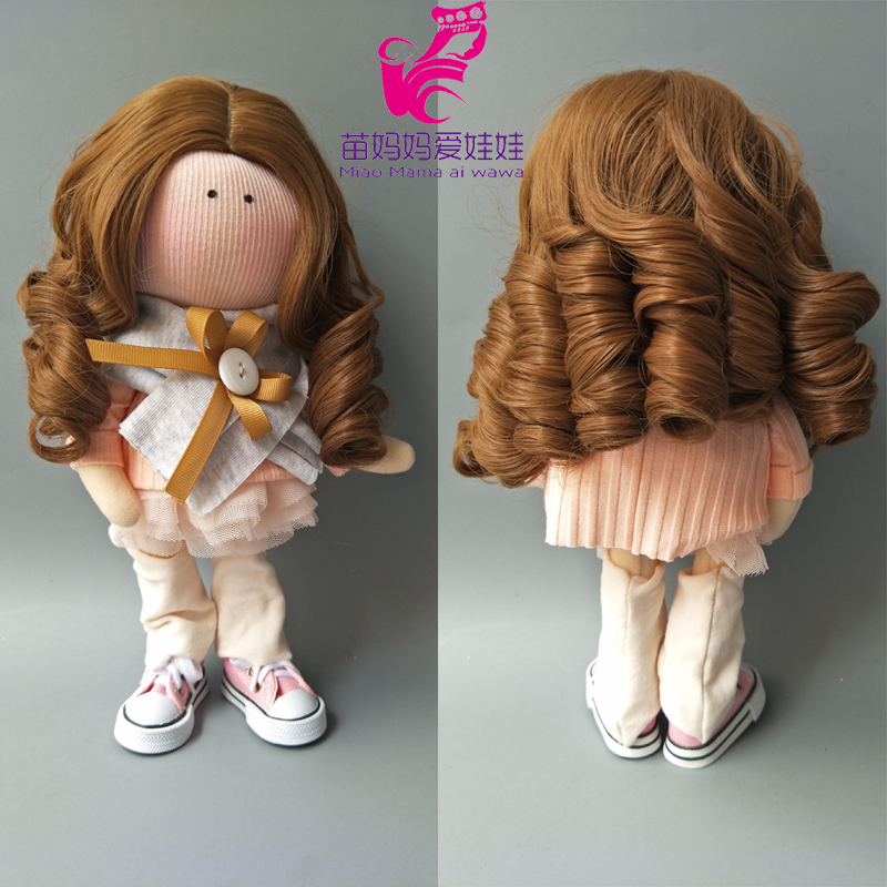 25-28CM head size Dolls Curly Hair Wig for handmade cloth Doll DIY Accessory Hair Replace Hair for 18 inch dolls ...