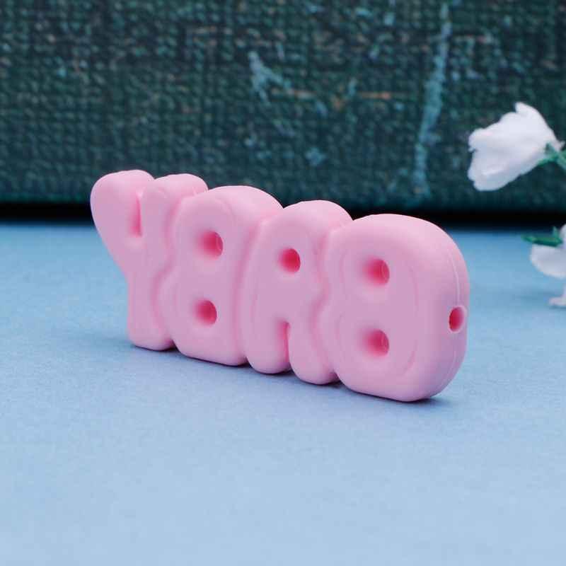 Детский Прорезыватель с буквами, милая мягкая лекарственная соска, бусы, пустышка, жевательно-кусательная прорезыватель, принадлежности для прорезывания зубов, ожерелье DIY, подвеска, безопасный BPA бесплатно