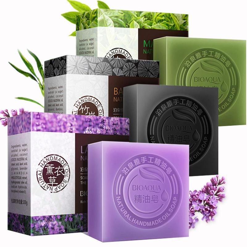 BIOAQUA Essential Oil Soap Natural Organic Whitening Handmade Rose Soap Skin Remove Acne Deep Cleansing Face Hair Care Bath