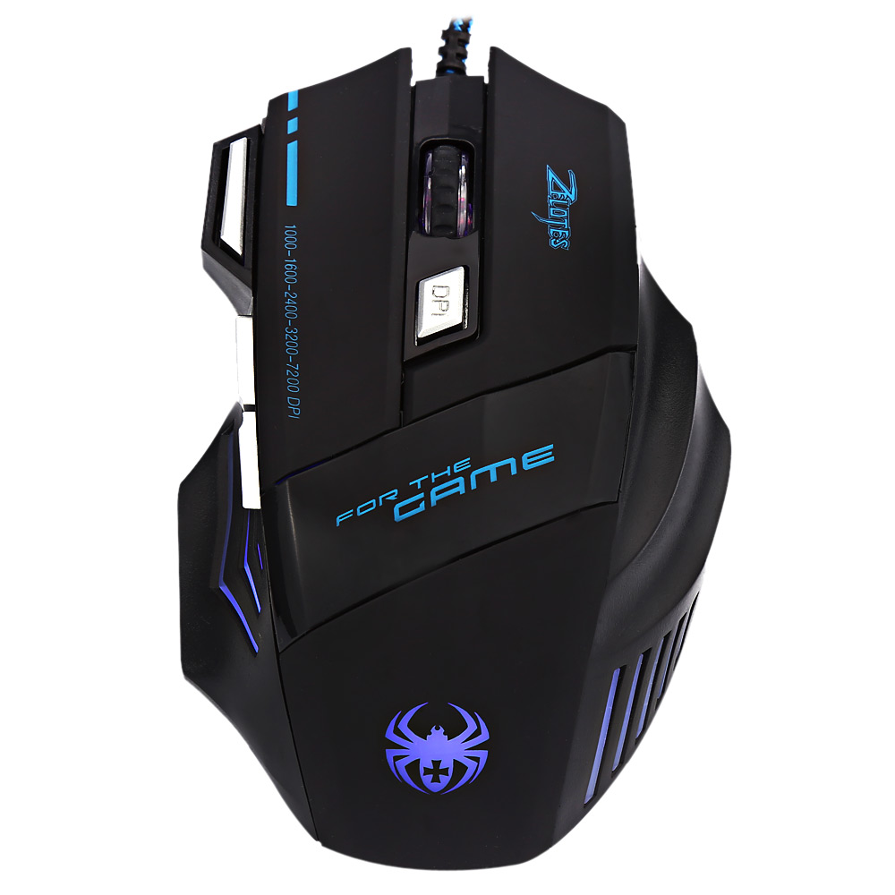 ZELOTES T - 80 7200 DPI 7 Button Multi Color LED Optical USB Wired Gaming Mouse