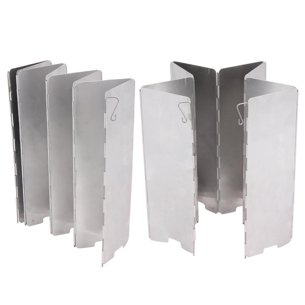 8 placas de cocina plegable parabrisas para acampar al aire libre estufa de Gas Escudo de viento Picnic utensilios de cocina Windbreak equipo de Camping
