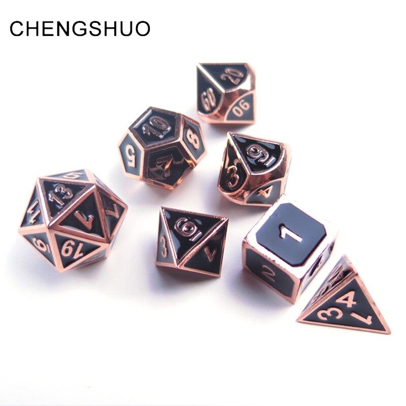 Chengshuo ролевая игра игральные кубики из металла dnd многогранных комплекты dados Подземелья и Драконы алюминий черный кубики d20 10 12 6 настольные и...