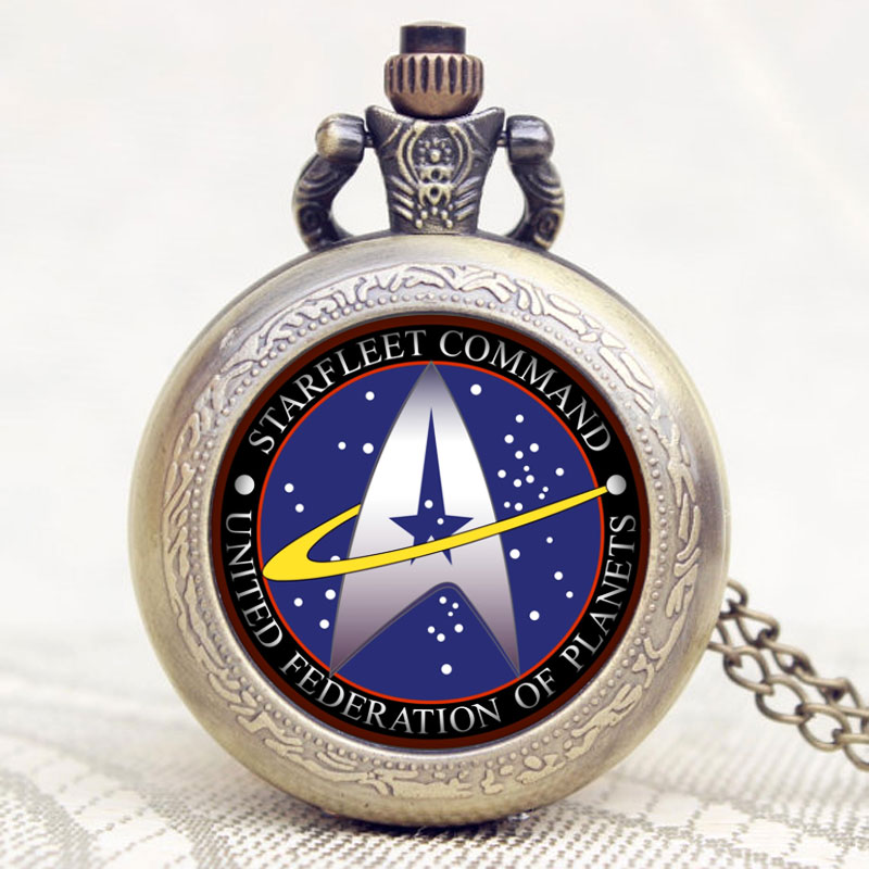 2016 New Arrival Star Trek Cool Desgin Pocket Watch With Chain Necklace Birthday Christmas New Year Gift trendy cool style captain america shield case fob quartz pocket watch black dia with steel chain necklace christmas gift