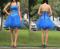 Unchained A-Line Strapless Beaded Embellished Organza Royal Blue Short Homecoming Dress Cocktail