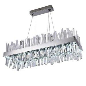 Image 1 - יוקרה עיצוב מודרנית גביש נברשת LED אור AC110V 220V cristal זוהר כרום חדר אוכל סלון מנורה