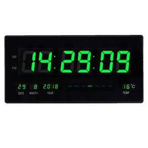 6 dígitos led calendário digital relógio de parede com display de temperatura números grandes led iluminam sala de estar grande relógio de parede