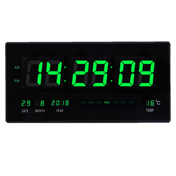 6-digit LED digital calendar wall clock with temperature display big numbers led Illuminate Livingroom large wall clock