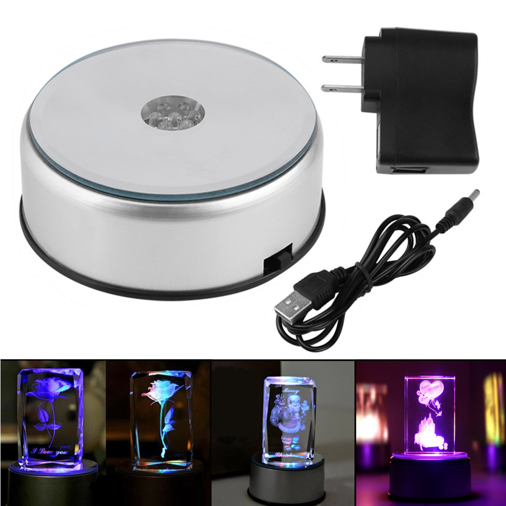 LED Colorful Luminous Base Light Laser Rotating Crystal Display Base Stand Holder with AC US Adapter Glass Transparent Objects