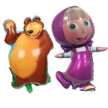 2pcs 97*60cm Large Size Masha Foil Balloons and 70*46cm Bear Balloons Baby Birthday Party Supplies Masha Balons Kid Toys Globos