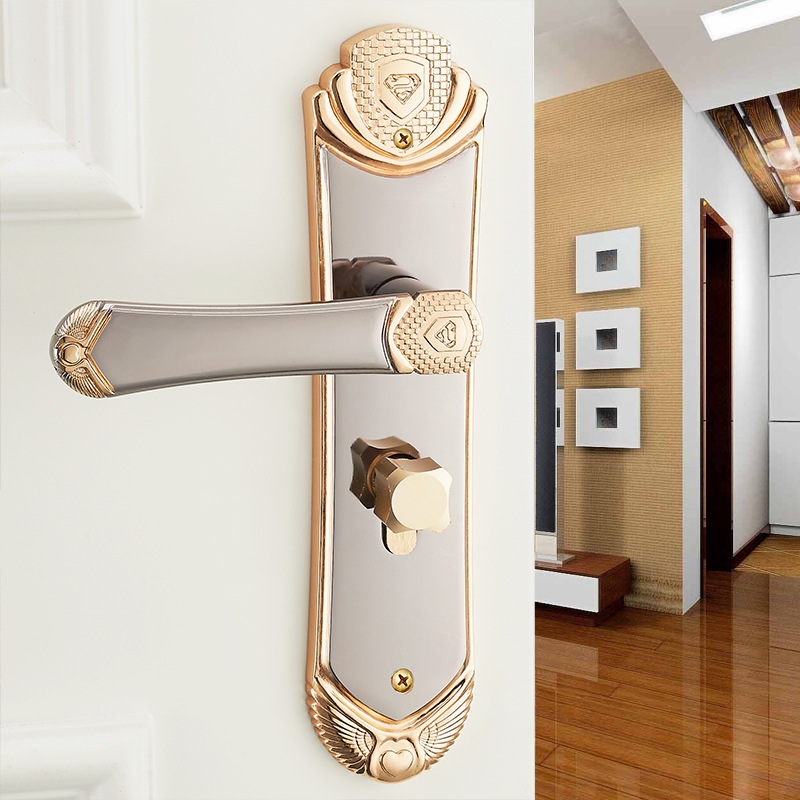 European bedroom door lock indoor solid wood door room - Door handles with locks for bedrooms ...
