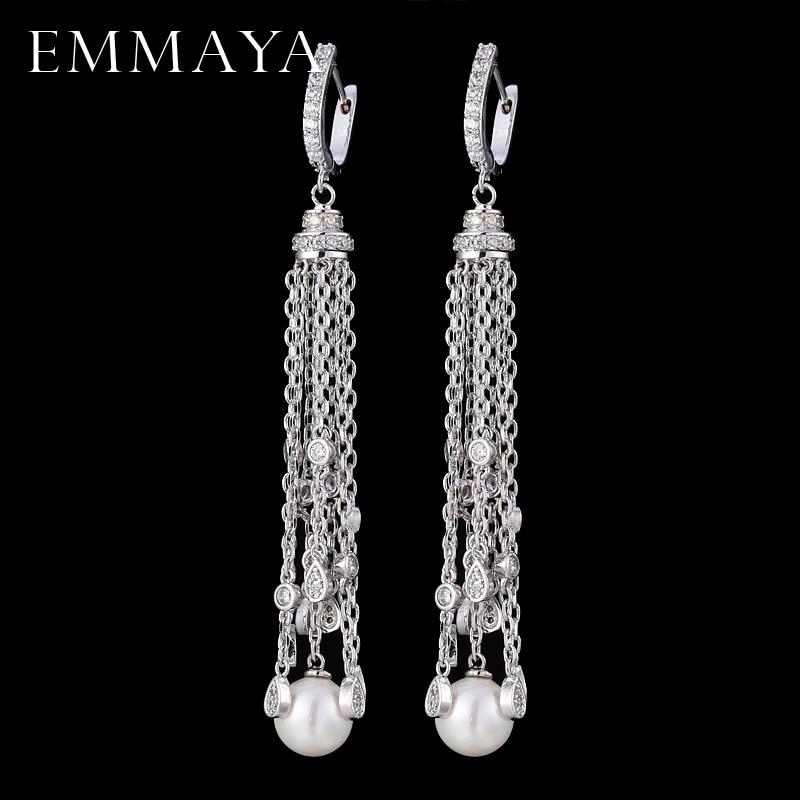 EMMAYA New Fashion Cz Jewelry Earrings Long Chain Tassel Round Design CZ Dangle Earrings