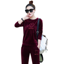 2018 winter women s new pleuche fashion leisure embroidery fleece casual velvet suits female 2
