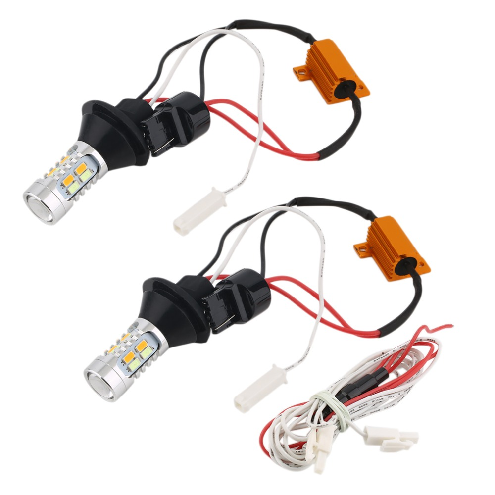 Car color kit - T20 Led 12v Car Turn Signals Drl Headlight Canbus Kit Daytime Running Front Light Dual Color