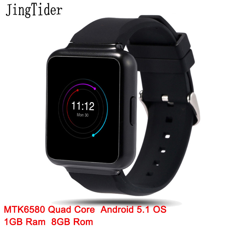 JingTider Q1 Smart Watch Android 5.1 OS 1GB Ram 8GB Rom MTK6580 Quad core Wristwatch phone Heart Rate 1.54 inch 3G WIFI GPS Sim цена и фото