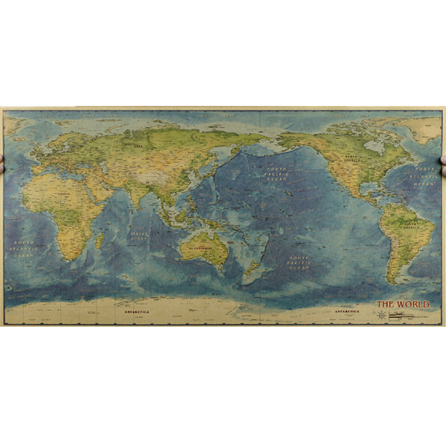 Vintage retro large ocean map of the globe world posters home vintage retro large ocean map of the globe world posters home decal decoration painting core drawing gumiabroncs Choice Image