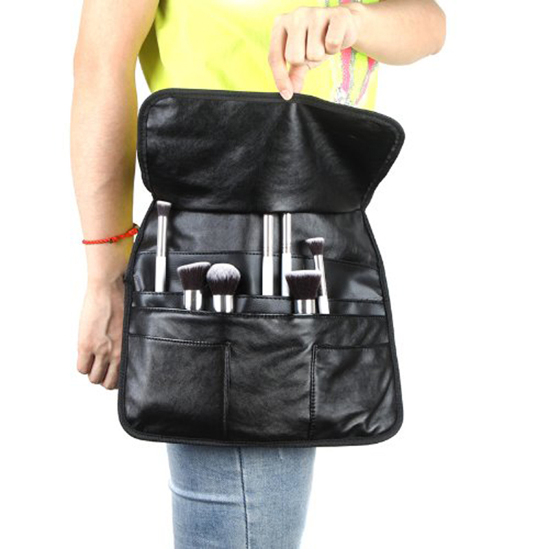 Professional PU Cosmetic Brush Bag 21 Pockets With 3 Big Compartments Makeup Brush Bag Apron with Artist Belt Strap Organizer