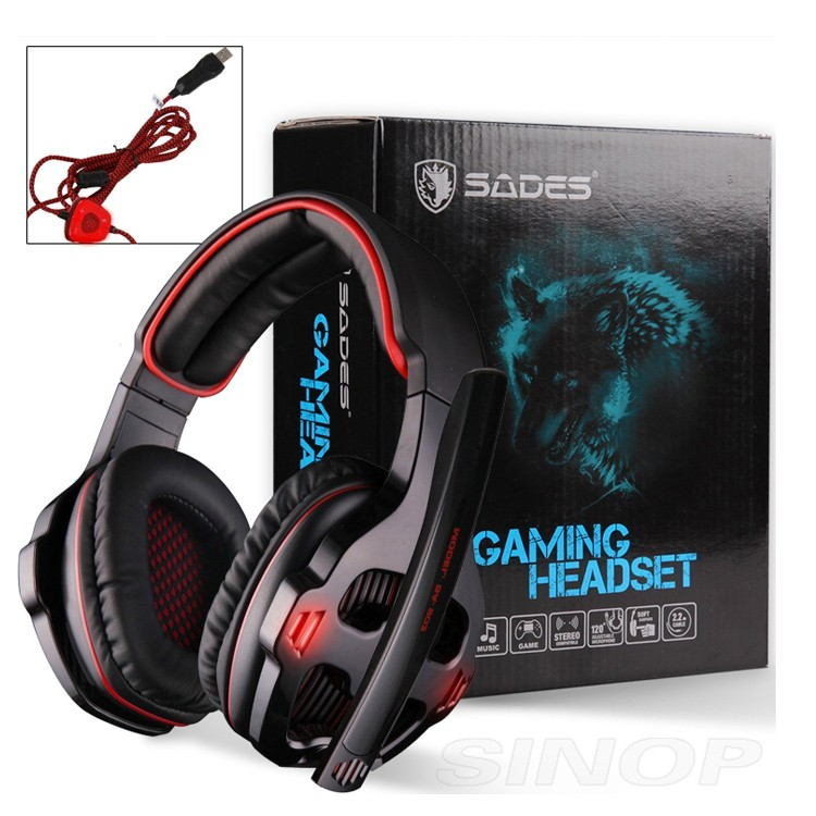 Sades SA-903 7.1 Surround Sound channel USB Gaming Headset Wired Headphone with Mic Volume Control Noise Cancelling Mic Earphone (13)