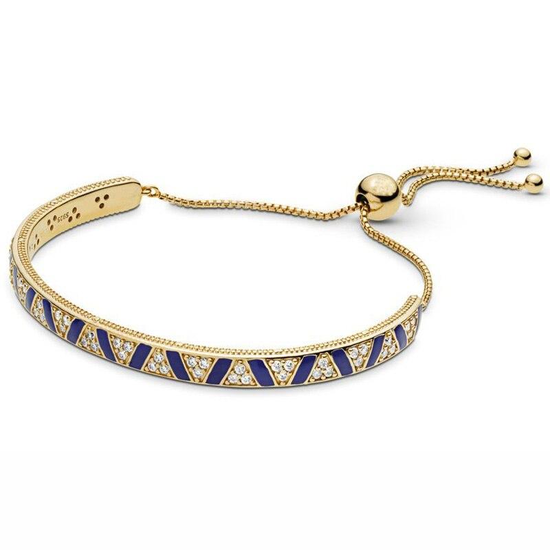 925 Sterling Silver Bangle Shine Stones & Triangular Milgrain Stripes Sliding Bracelet Fit Women Bead Charm Diy Pandora Jewelry