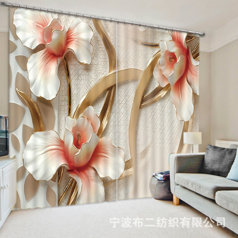 Moderne élégant fleurs et plantes cascade 3D rideaux occultants pour la literie chambre salon hôtel rideaux Cortinas Para Sala