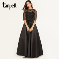 Tanpell Scoop Neck Evening Dress Black Appliques Half Sleeves Floor Length Ball Gown Cheap Lady Prom