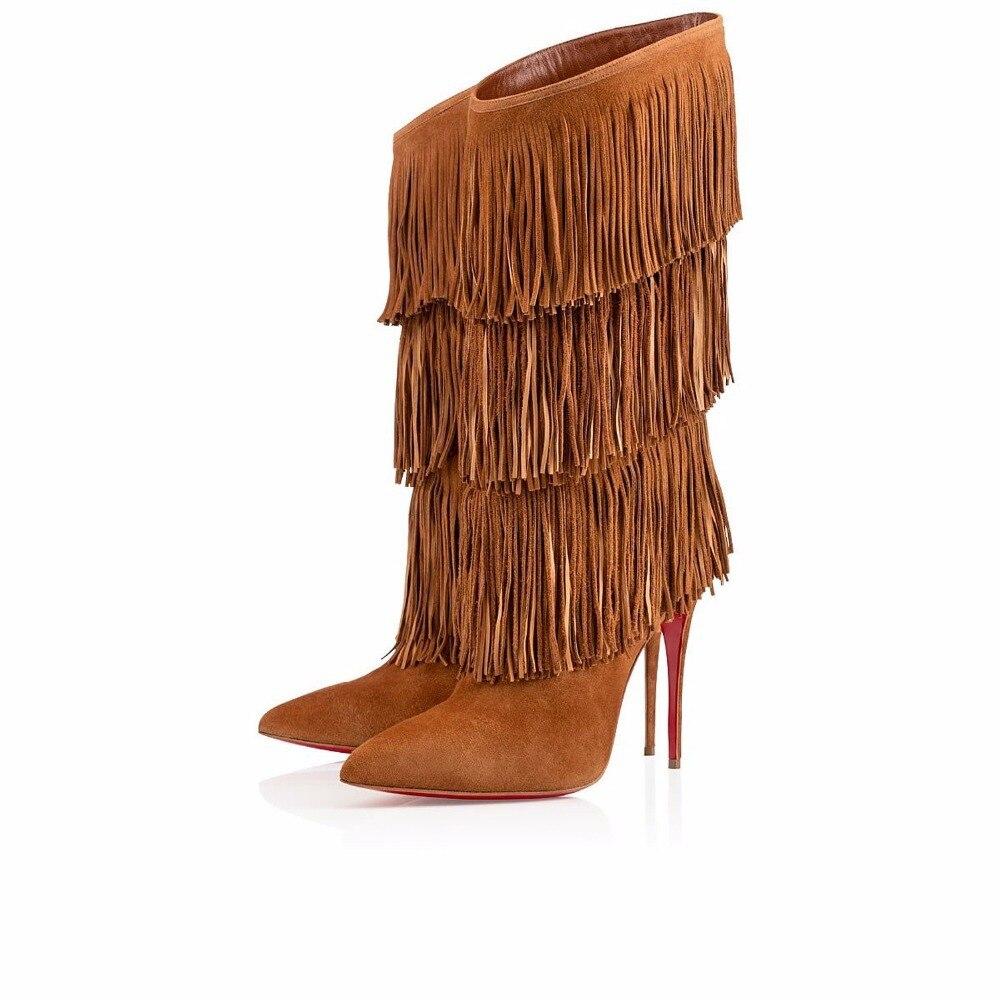 Pointu Chaussures D'hiver Style Haute Gland mollet Sexy Bout Noir Stiletto Mi Noir orange Taille Grande Fringe Femmes Rue Talon Bottes Brun wSUq6xqnXO
