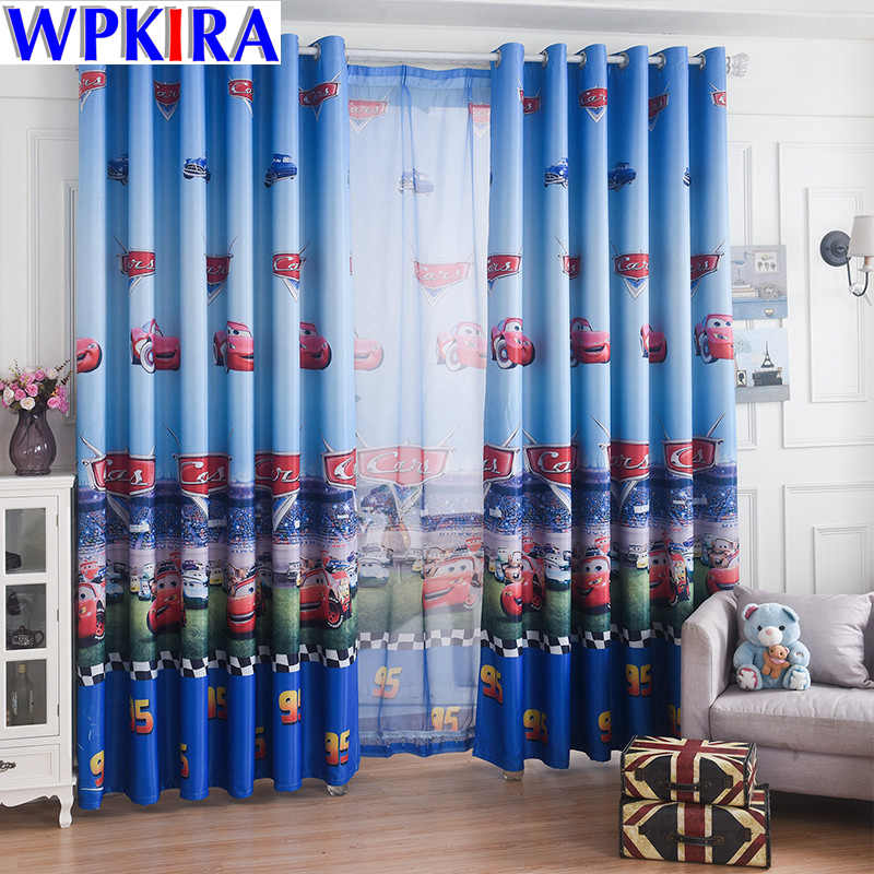 Blue Car Cartoon Window Curtain Living Room Boys Children  Bedroom Sheer Tulle Kids Cortina Window Treatment 70% Shade WP228-30