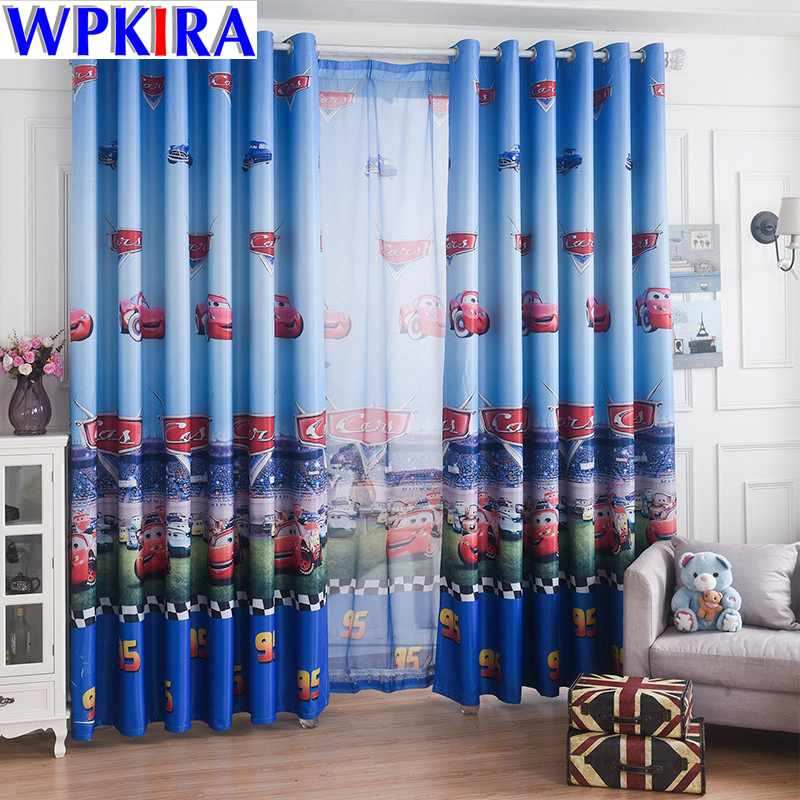 Blue Car Cartoon Window Tires Living Room Boys Kanak-kanak Bedroom Sheer Tulle Kids Cortina Window Treatment 70% Shade WP228-30