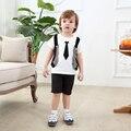 2016 chicos ropa caballero muchacho del verano niños vestidos de boda niños fabricantes de ropa china chaleco del algodón del o-cuello set en el tie