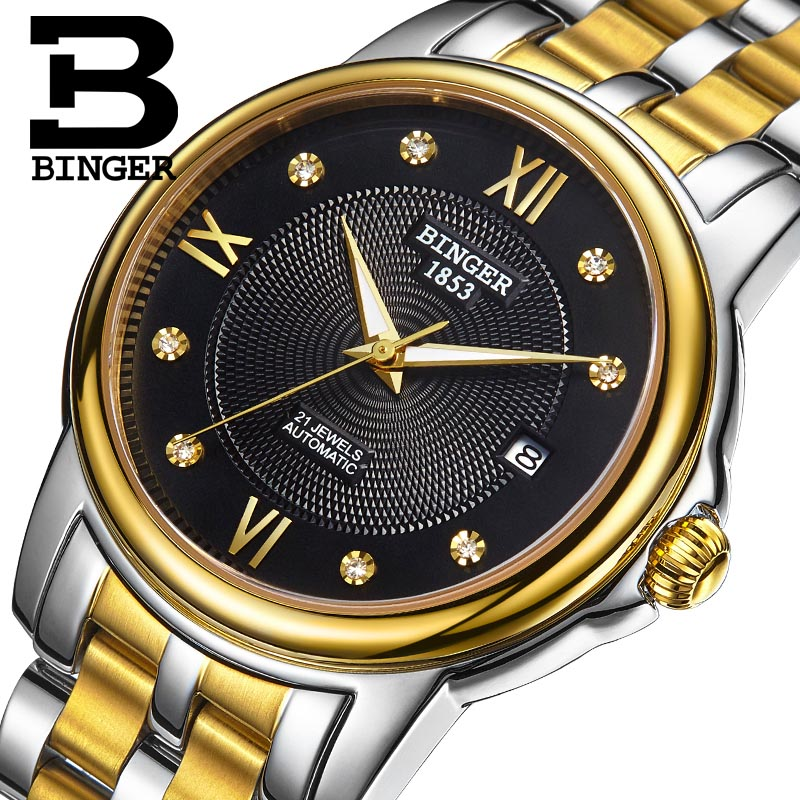 Genuine Luxury BINGER Brand Men hollow automatic mechanical self-wind sapphire watch male business waterproof table Barton sery deluxe ailuo men auto self wind mechanical analog pointer 5atm waterproof rhinestone business watch sapphire crystal wristwatch