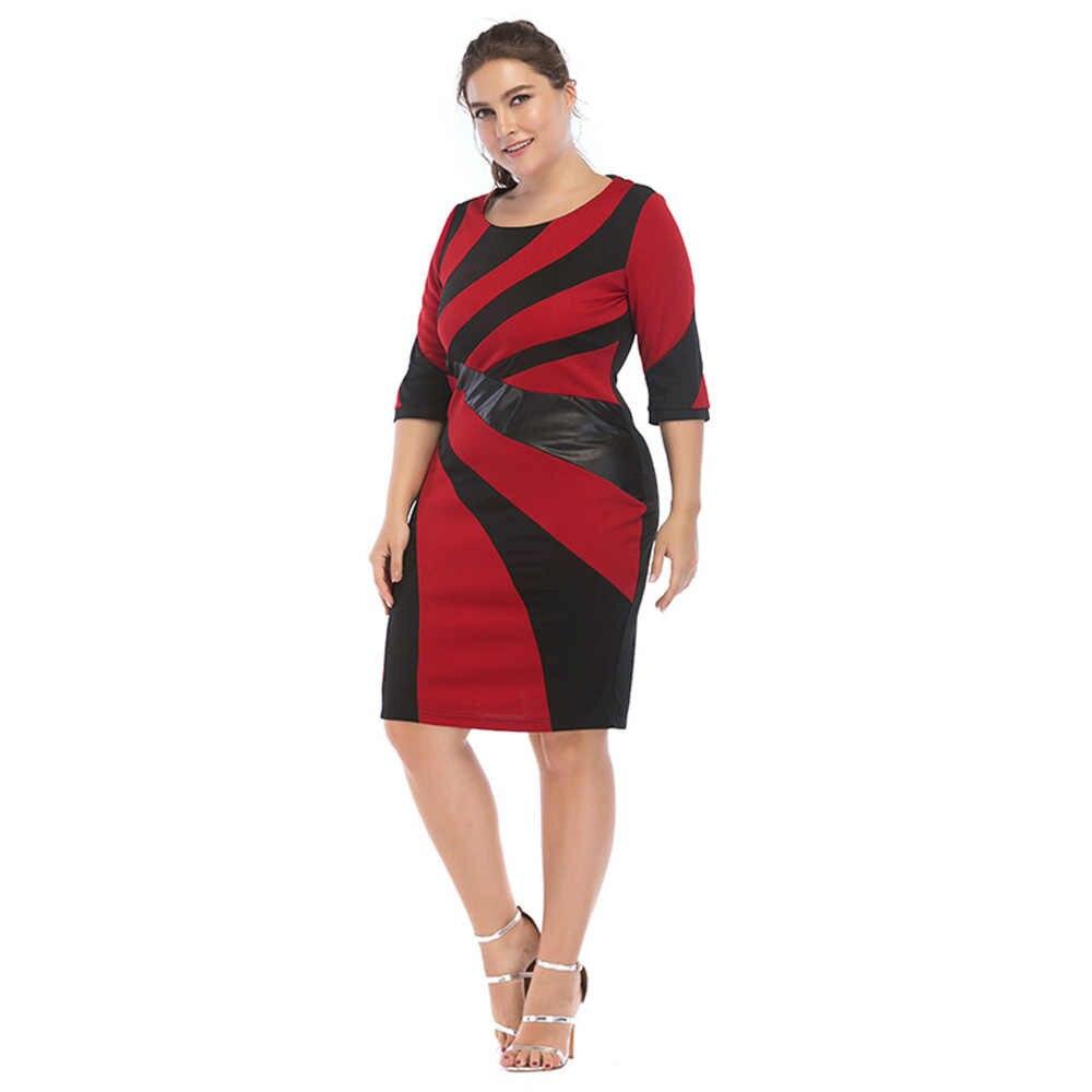 Wisalo женское платье в полоску из искусственной кожи с контрастной строчкой, с круглым вырезом, облегающее офисное женское платье для работы, Женская Деловая одежда 6XL