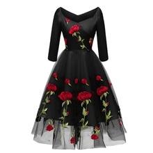 2019 New Elegant Women Floral Off Shoulder Rose Embroidery A-line Dress Valentine's Day Cocktail Party Dress for Women Ladies цены онлайн