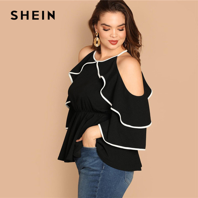 SHEIN Plus Size Sexy Cold Shoulder Butterfly Sleeve Women Black Ruffle Blouse 2019 Casual Spring Three Quarter Sleeve Top Blouse 2