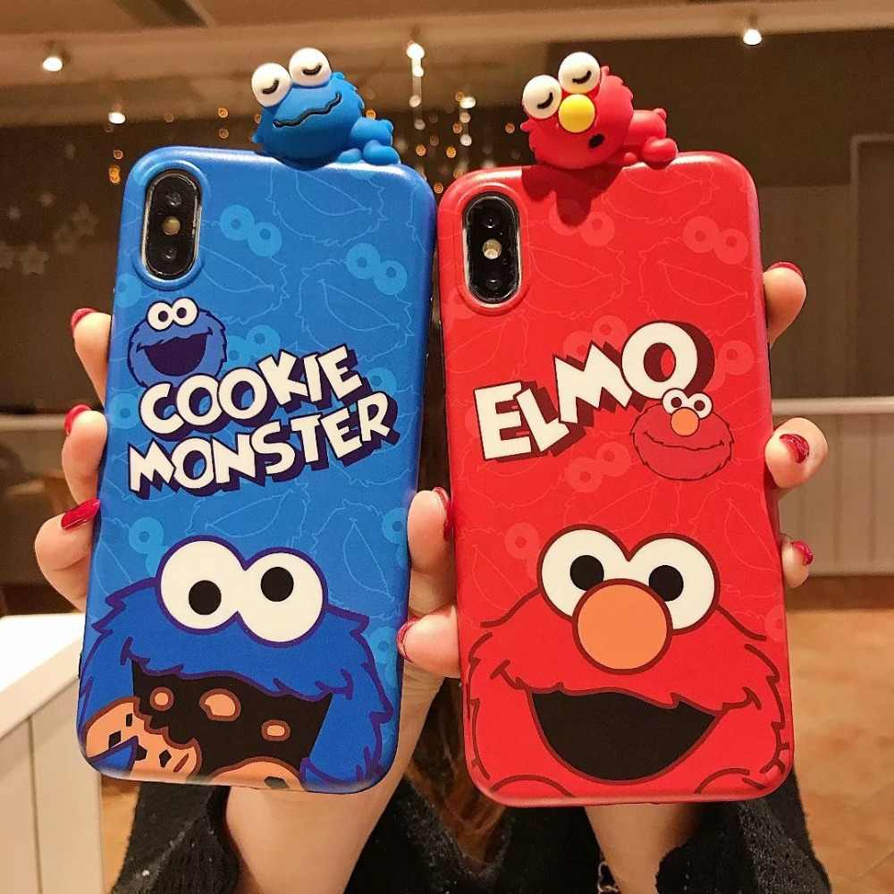 Case on for iPhone 8 7 Plus 3D Elmo Cookie Monsters Cover For iPhone 6 6S Couple Silicone Cases For iPhone X XR XS Max 11Pro Max