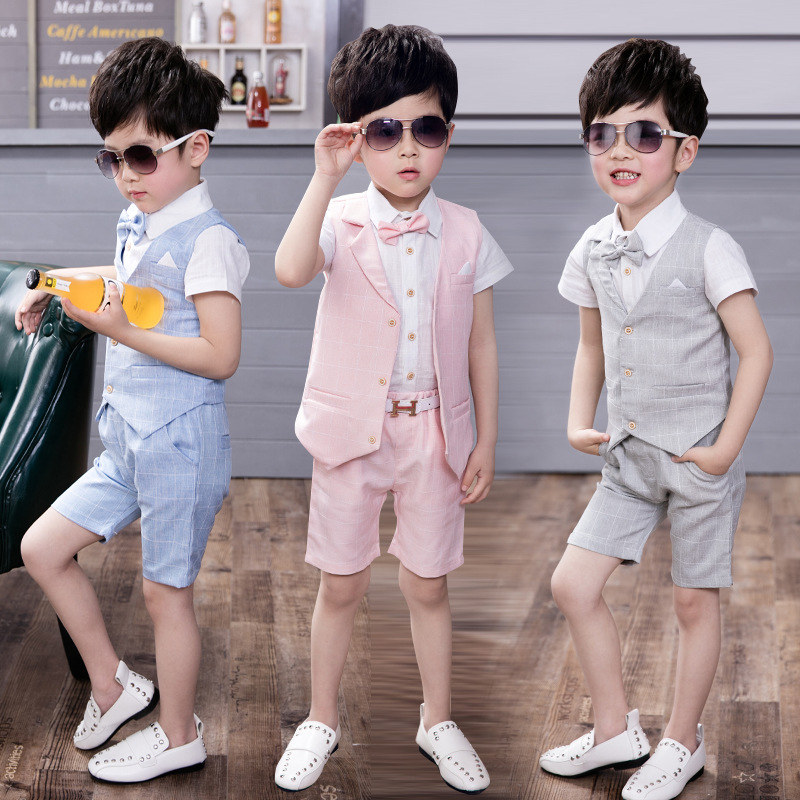 New Boys suit set Vest Suit for Wedding Children Summer  Vest+T shirt +Shorts 3 pieces Clothing Set for Baby Boys  Kids Costume