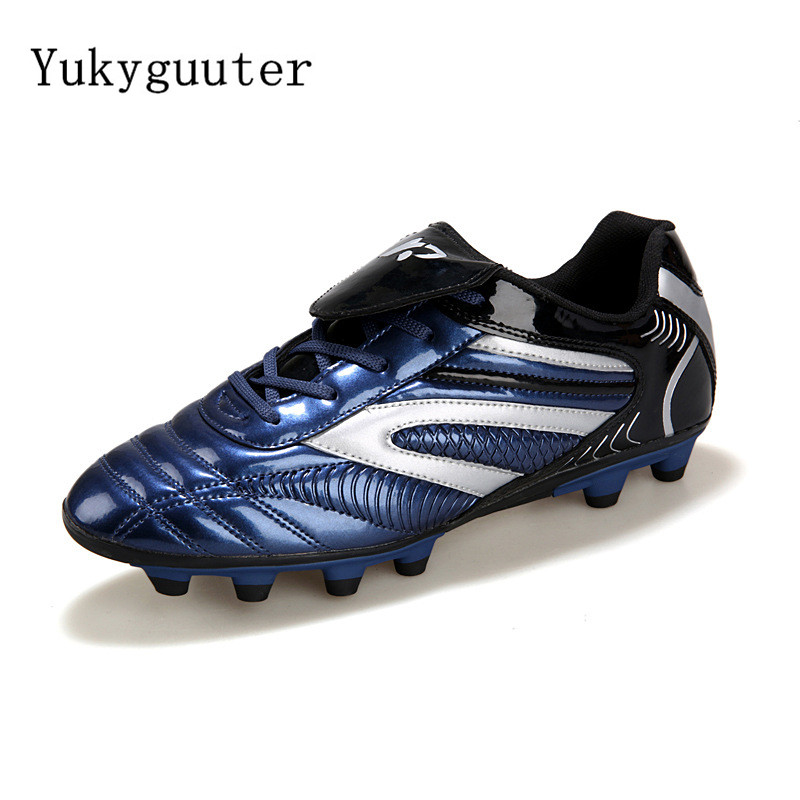 Men Football Soccer Boots Athletic Soccer Shoes 2018 New Leather Big Size High Top Soccer Cleats Training Football Sneaker(China)